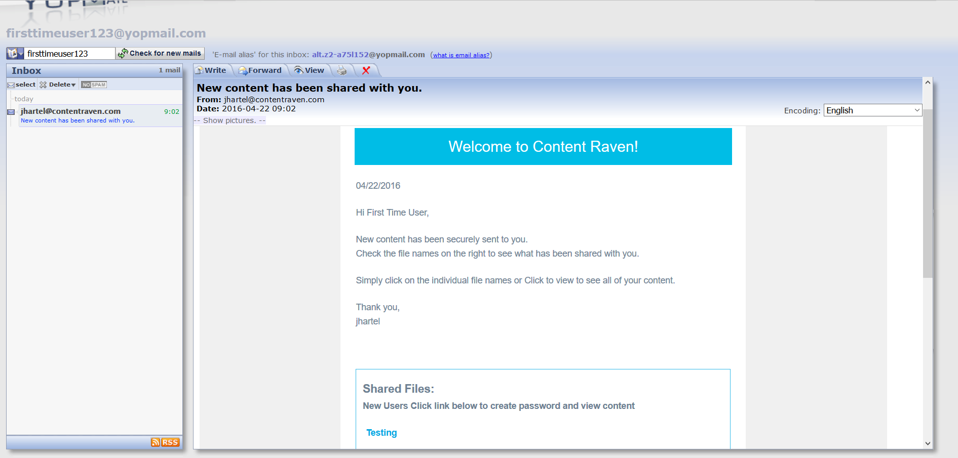 How to become a New user and access your content in Content Raven